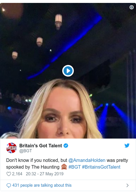 Twitter post by @BGT: Don't know if you noticed, but @AmandaHolden was pretty spooked by The Haunting 🙈 #BGT #BritainsGotTalent