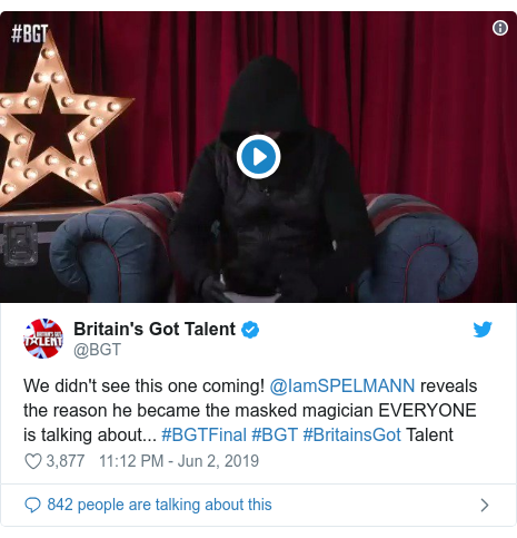 Twitter post by @BGT: We didn't see this one coming! @IamSPELMANN reveals the reason he became the masked magician EVERYONE is talking about... #BGTFinal #BGT #BritainsGot Talent