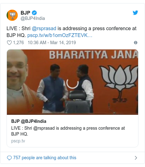Twitter post by @BJP4India: LIVE   Shri @rsprasad is addressing a press conference at BJP HQ.