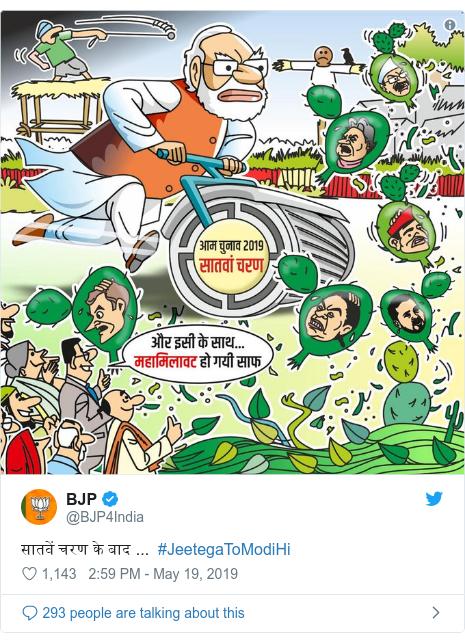 Twitter post by @BJP4India: सातवें चरण के बाद ...  #JeetegaToModiHi