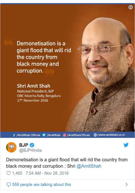 Twitter post by @BJP4India: Demonetisation is a giant flood that will rid the country from black money and corruption   Shri @AmitShah