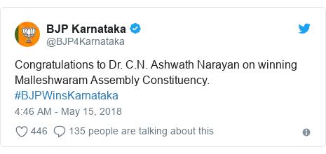 Twitter post by @BJP4Karnataka: Congratulations to Dr. C.N. Ashwath Narayan on winning Malleshwaram Assembly Constituency. #BJPWinsKarnataka
