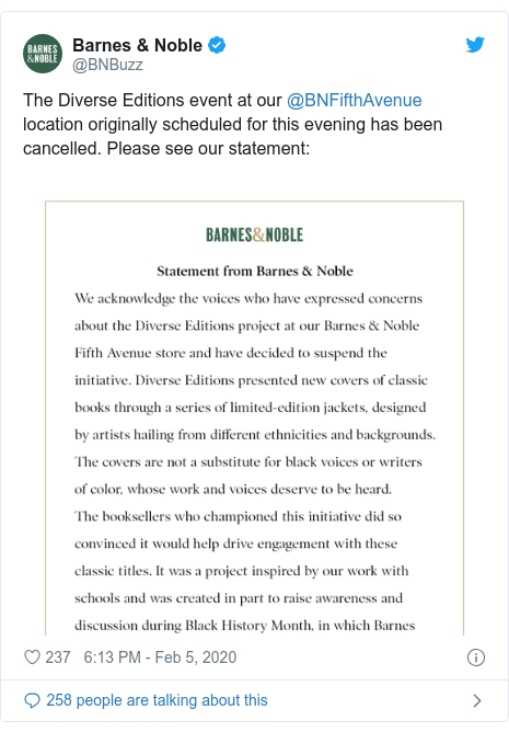 Twitter post by @BNBuzz: The Diverse Editions event at our @BNFifthAvenue location originally scheduled for this evening has been cancelled. Please see our statement