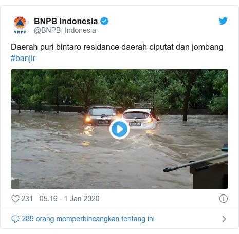 Twitter pesan oleh @BNPB_Indonesia: Daerah puri bintaro residance daerah ciputat dan jombang #banjir