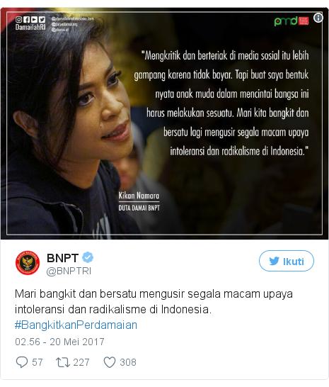 Twitter pesan oleh @BNPTRI