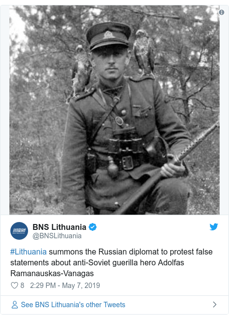 Twitter post by @BNSLithuania: #Lithuania summons the Russian diplomat to protest false statements about anti-Soviet guerilla hero Adolfas Ramanauskas-Vanagas