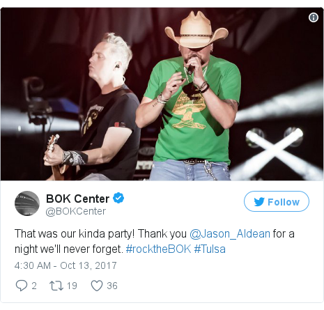 Twitter post by @BOKCenter: That was our kinda party! Thank you @Jason_Aldean for a night we'll never forget. #rocktheBOK #Tulsa