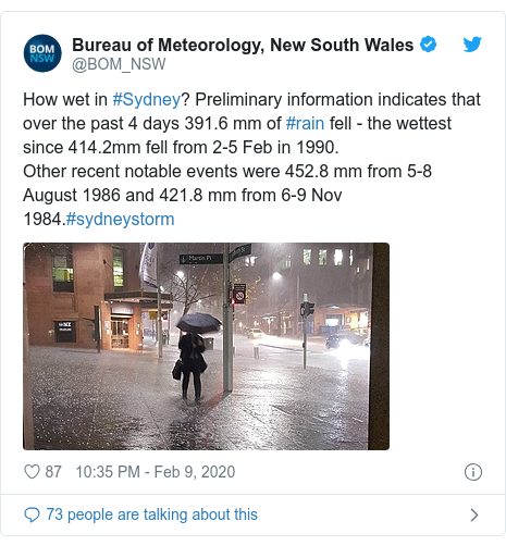 Twitter post by @BOM_NSW: How wet in #Sydney? Preliminary information indicates that over the past 4 days 391.6 mm of #rain fell - the wettest since 414.2mm fell from 2-5 Feb in 1990.Other recent notable events were 452.8 mm from 5-8 August 1986 and 421.8 mm from 6-9 Nov 1984.#sydneystorm