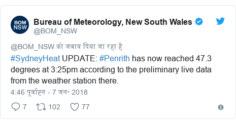 ट्विटर पोस्ट @BOM_NSW: #SydneyHeat UPDATE  #Penrith has now reached 47.3 degrees at 3 25pm according to the preliminary live data from the weather station there.