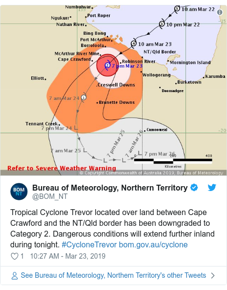 Twitter post by @BOM_NT: Tropical Cyclone Trevor located over land between Cape Crawford and the NT/Qld border has been downgraded to Category 2. Dangerous conditions will extend further inland during tonight. #CycloneTrevor