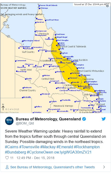 Twitter post by @BOM_Qld: Severe Weather Warning update  Heavy rainfall to extend from the tropics further south through central Queensland on Sunday. Possible damaging winds in the northeast tropics. #Cairns #Townsville #Mackay #Emerald #Rockhampton #Bundaberg #CycloneOwen