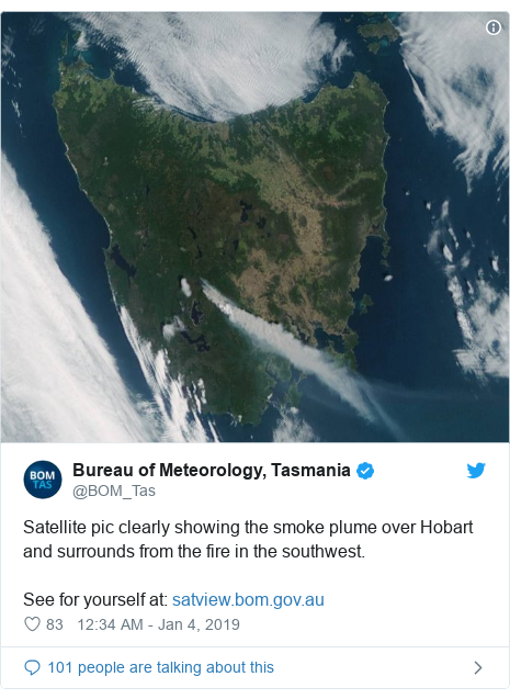 Twitter post by @BOM_Tas: Satellite pic clearly showing the smoke plume over Hobart and surrounds from the fire in the southwest. See for yourself at