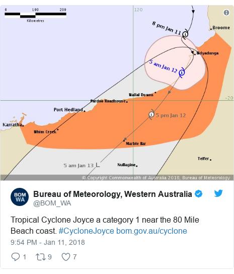 Twitter post by @BOM_WA: Tropical Cyclone Joyce a category 1 near the 80 Mile Beach coast. #CycloneJoyce