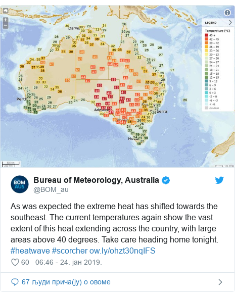 Twitter post by @BOM_au: As was expected the extreme heat has shifted towards the southeast. The current temperatures again show the vast extent of this heat extending across the country, with large areas above 40 degrees. Take care heading home tonight. #heatwave #scorcher