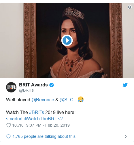 Twitter post by @BRITs: Well played @Beyonce & @S_C_ 😂Watch The #BRITs 2019 live here