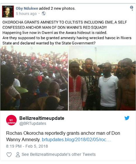 Twitter post by @BRTupdates: Rochas Okorocha reportedly grants anchor man of Don Wanny Amnesty.