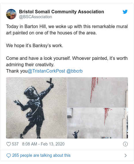 Twitter post by @BSCAssociation: Today in Barton Hill, we woke up with this remarkable mural art painted on one of the houses of the area.We hope it's Banksy's work.Come and have a look yourself. Whoever painted, it's worth admiring their creativity. Thank you@TristanCorkPost @bbcrb