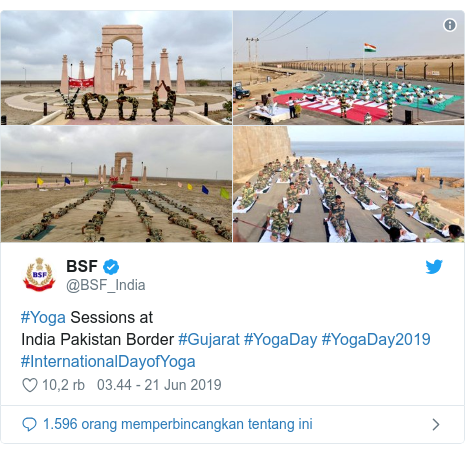 Twitter pesan oleh @BSF_India: #Yoga Sessions at  India Pakistan Border #Gujarat #YogaDay #YogaDay2019 #InternationalDayofYoga
