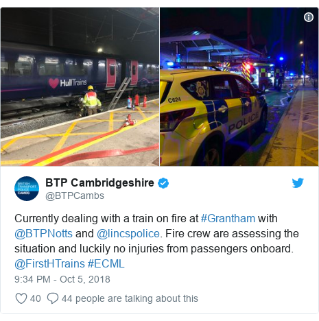 Twitter post by @BTPCambs: Currently dealing with a train on fire at #Grantham with @BTPNotts and @lincspolice. Fire crew are assessing the situation and luckily no injuries from passengers onboard. @FirstHTrains #ECML