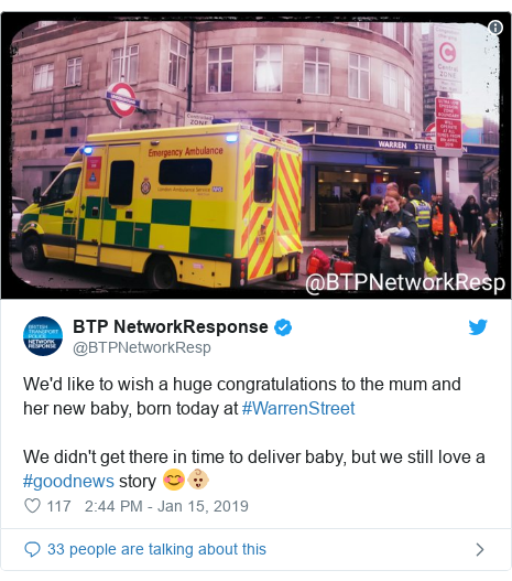 Twitter post by @BTPNetworkResp: We'd like to wish a huge congratulations to the mum and her new baby, born today at #WarrenStreetWe didn't get there in time to deliver baby, but we still love a #goodnews story 😊👶🏼