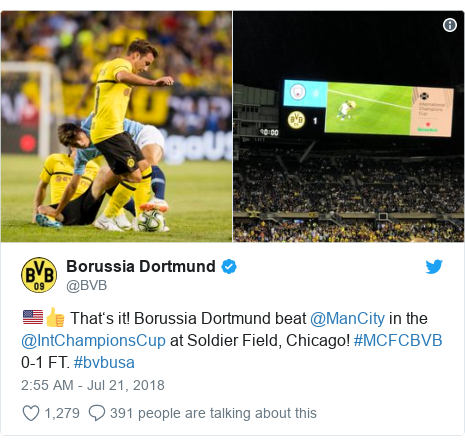 Twitter post by @BVB: 🇺🇸👍 That's it! Borussia Dortmund beat @ManCity in the @IntChampionsCup at Soldier Field, Chicago! #MCFCBVB 0-1 FT. #bvbusa