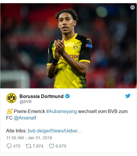 Twitter post by @BVB: 👋 Pierre-Emerick #Aubameyang wechselt vom BVB zum FC @Arsenal!Alle Infos