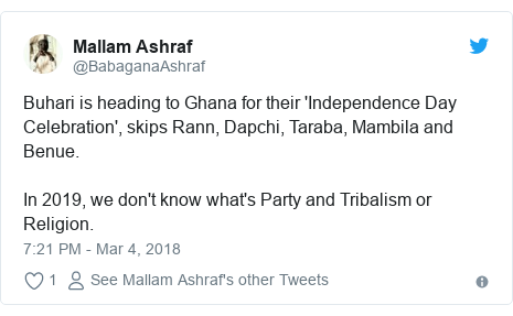 Twitter post by @BabaganaAshraf: Buhari is heading to Ghana for their 'Independence Day Celebration', skips Rann, Dapchi, Taraba, Mambila and Benue.In 2019, we don't know what's Party and Tribalism or Religion.