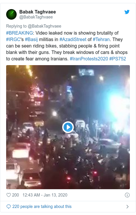 Twitter post by @BabakTaghvaee: #BREAKING  Video leaked now is showing brutality of #IRGC's #Basij militias in #AzadiStreet of #Tehran. They can be seen riding bikes, stabbing people & firing point blank with their guns. They break windows of cars & shops to create fear among Iranians. #IranProtests2020 #PS752