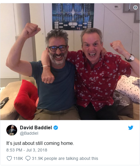 Twitter post by @Baddiel: It's just about still coming home.
