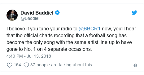 Twitter post by @Baddiel: I believe if you tune your radio to @BBCR1 now, you'll hear that the official charts recording that a football song has become the only song with the same artist line-up to have gone to No. 1 on 4 separate occasions.