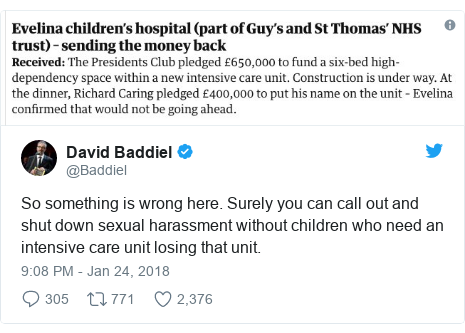 Twitter post by @Baddiel: So something is wrong here. Surely you can call out and shut down sexual harassment without children who need an intensive care unit losing that unit.