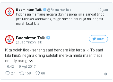 Twitter pesan oleh @BadmintonTalk