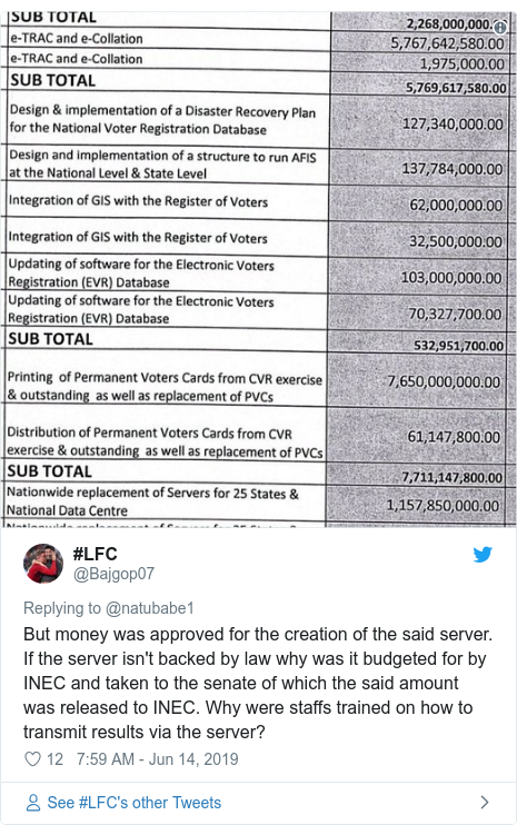 Twitter post by @Bajgop07: But money was approved for the creation of the said server. If the server isn't backed by law why was it budgeted for by INEC and taken to the senate of which the said amount was released to INEC. Why were staffs trained on how to transmit results via the server?