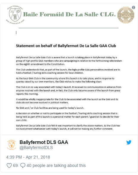 Twitter post by @BallyfermotDLS: