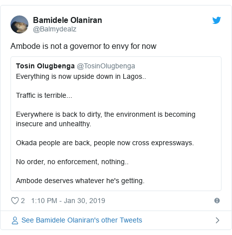 Twitter post by @Balmydealz: Ambode is not a governor to envy for now