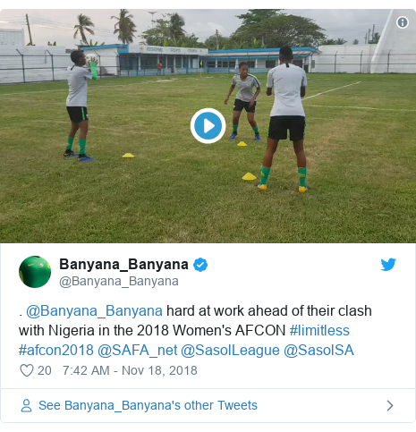 Twitter post by @Banyana_Banyana: . @Banyana_Banyana hard at work ahead of their clash with Nigeria in the 2018 Women's AFCON #limitless #afcon2018 @SAFA_net @SasolLeague @SasolSA