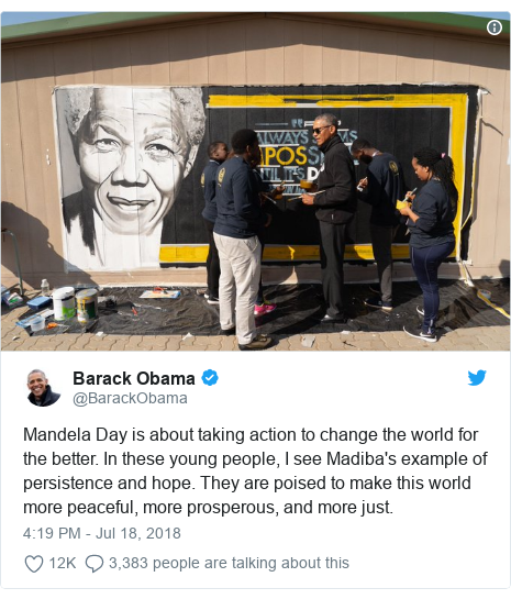Ujumbe wa Twitter wa @BarackObama: Mandela Day is about taking action to change the world for the better. In these young people, I see Madiba's example of persistence and hope. They are poised to make this world more peaceful, more prosperous, and more just.