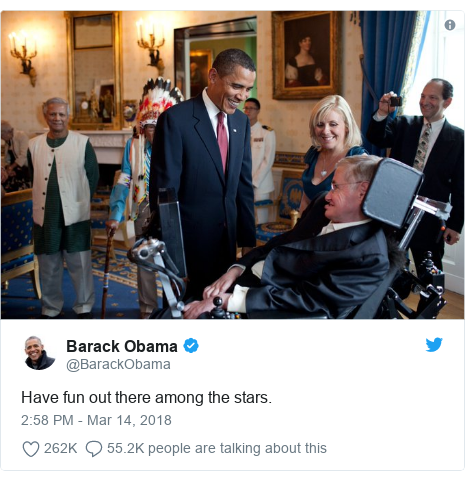 Twitter post by @BarackObama: Have fun out there among the stars.