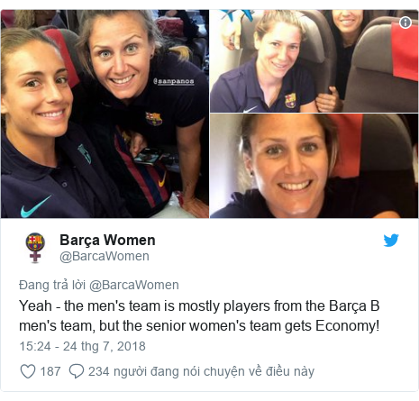 Twitter bởi @BarcaWomen: Yeah - the men's team is mostly players from the Barça B men's team, but the senior women's team gets Economy!