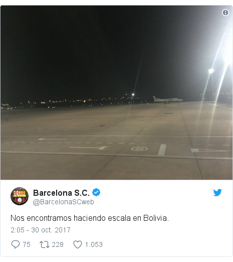 Publicación de Twitter por @BarcelonaSCweb: Nos encontramos haciendo escala en Bolivia.