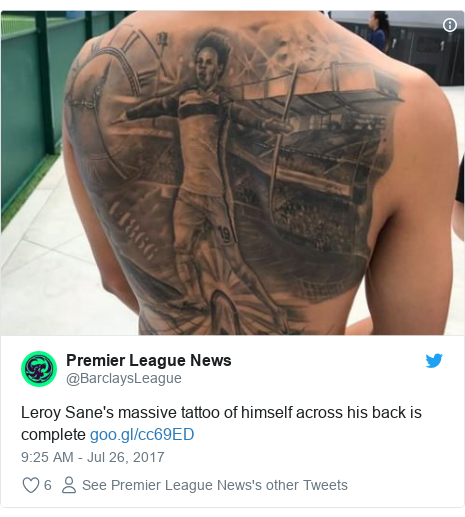 Twitter post by @BarclaysLeague: Leroy Sane's massive tattoo of himself across his back is complete