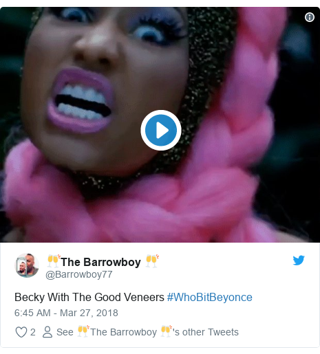 Twitter post by @Barrowboy77: Becky With The Good Veneers #WhoBitBeyonce
