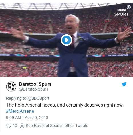 Twitter post by @BarstoolSpurs: The hero Arsenal needs, and certainly deserves right now. #MerciArsene