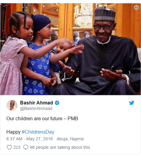 Twitter post by @BashirAhmaad: Our children are our future – PMBHappy #ChildrensDay
