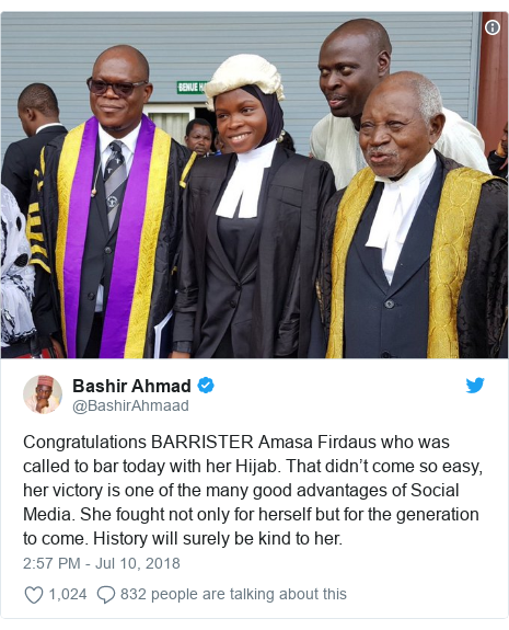 Twitter post by @BashirAhmaad: Congratulations BARRISTER Amasa Firdaus who was called to bar today with her Hijab. That didn't come so easy, her victory is one of the many good advantages of Social Media. She fought not only for herself but for the generation to come. History will surely be kind to her.
