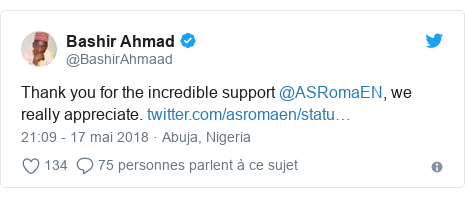 Twitter publication par @BashirAhmaad: Thank you for the incredible support @ASRomaEN, we really appreciate.