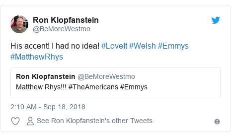 Twitter post by @BeMoreWestmo: His accent! I had no idea! #LoveIt #Welsh #Emmys #MatthewRhys