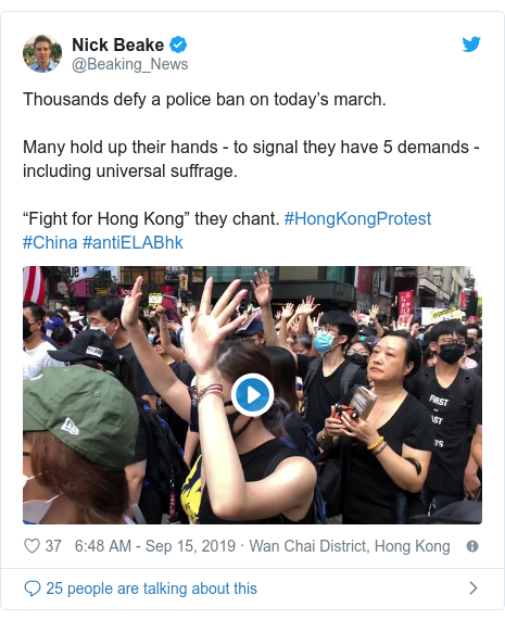 """Twitter post by @Beaking_News: Thousands defy a police ban on today's march. Many hold up their hands - to signal they have 5 demands - including universal suffrage. """"Fight for Hong Kong"""" they chant. #HongKongProtest #China #antiELABhk"""