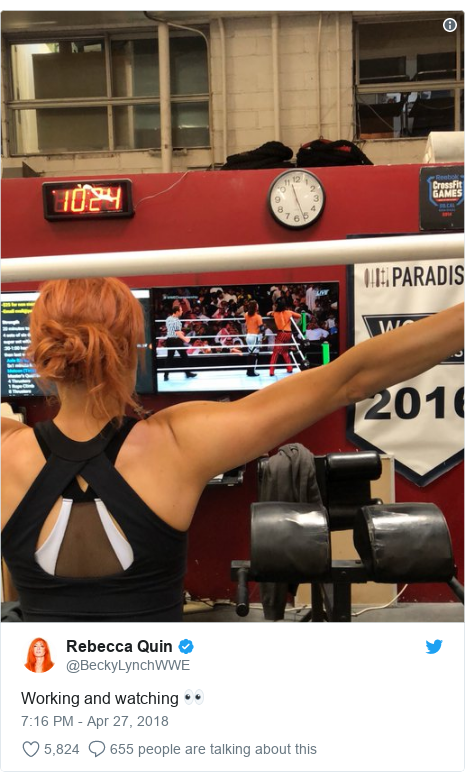 Twitter post by @BeckyLynchWWE: Working and watching 👀