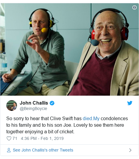 Twitter post by @BeingBoycie: So sorry to hear that Clive Swift has  condolences to his family and to his son Joe. Lovely to see them here together enjoying a bit of cricket.